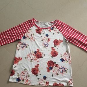Tops - 2xl blouse. Orange stripes and flowers!